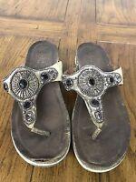 Dansko Women's Beaded  Leather Slip on Thong Sandal EU 41/ US 10.5-11 Flip Flop