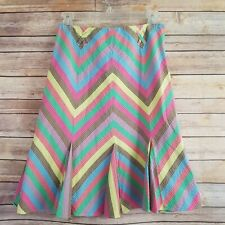 Anthropologie Elevenses Womens Size 2 Skirt Gored Chevron Below Knee Multi Color