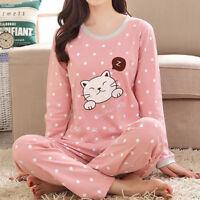 Women Pajamas Sets Long Sleeve Tops Pants Cartoon Cat Loose Sleepwear Nightwear