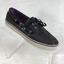 Sperry Topsider Women's Boat Shoe Black Canvas Sequin size 8 M
