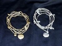 """5-Band Tube Bead Bracelet, w/Inscribed Charm """"Inspire"""", White or Yellow Brass"""