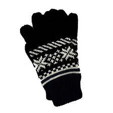 Unisex Black with White Fair-Isle Pattern Gloves