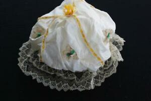 """RARE VICTORIAN COTTON  NIGHT CAP WITH LACE TRIM AND GOLDEN SILK RIBBON 11"""" X 12"""""""