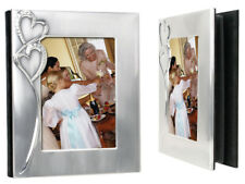 "5"" x 7"" 2-TONE SILVER FINISH HEARTS PHOTO ALBUM - ENGRAVED FREE"