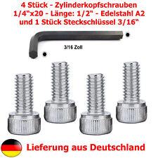 """4xZylinderschraube (1/4""""Zoll, Gewindelänge 12,7mm, Edelstahl A2)+Steckschlüssel"""