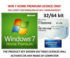 Win 7 Home Premium 32 or 64bit DOWNLOAD DIRECT FROM MICROSOFT Valid Key Label