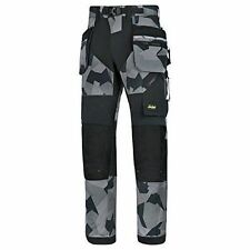 Snickers FlexiWork Work Trousers With Kneepad & Holster Pockets - 6902 Long 148 (up to W32 X L34) Grey Camo/black 8704