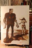 Original Oil Painting on Board Frankenstein's Monster Bikini Babe Richard Green