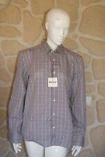 Chemise blanche, marron et bleue marque BARBOUR taille S étiquetée à 89€