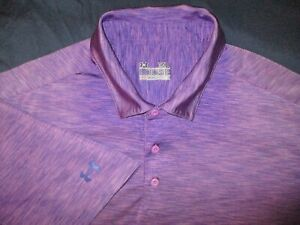 Mens - UNDER ARMOUR - Polo Golf Shirt Heat Gear Purple Marble Chambray XL Loose