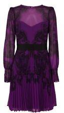 Stunning Karen Millen Purple Lace Print On Pleated Dress Size 12 Rrp $650
