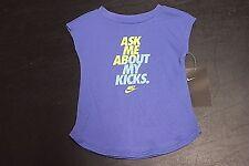 "NIKE ""ASK ME ABOUT MY KICKS"" Infant/Toddler Girls t-shirt 16B959-B9A Purple 24M"