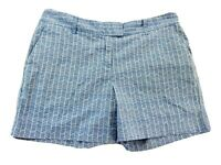 Nautica Womens Shorts Sz 8 Small Cotton Blend Stretch Blue White Geometric Print
