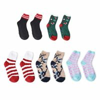 5 Pair Chirstmas Pattern Jacquard Plush Socks Size 5-10 Polyester/Spandex