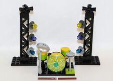 LEGO Drum Kit CUSTOM w/2 Drumsticks, Stage Lights & Seat