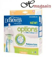 Dr Brown Options 270ML CLEAR Wide Neck Bottle(Pack of 3)