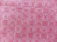 "WTW Fabric Vintage Floral Art Deco Nouveau Ornate Red 1 yd 36"" W Ornate Quilt"