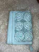 Miss Albright Light Blue Leather Women's Wallet Tea Rose Flowers