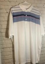 Men's Callaway Opti-Dri Striped Stretch Golf Polo Shirt White Blue Xxl