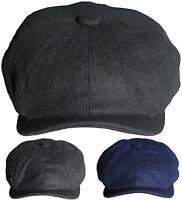 Mens Plain Baker Boy Cap Peaked Flat Caps Newsboy Hat Peaky Blinders Style Hats