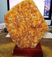 LARGE CITRINE CRYSTAL CLUSTER GEODE  BRAZIL CATHEDRAL WOOD STAND;