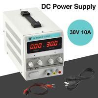 Adjustable Power Supply 30V 10A 110V Precision Variable DC Digital Lab w/clip
