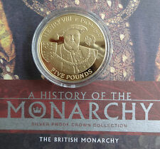 2007 SILVER PROOF GOLD PLATED ALDERNEY £5 COIN + COA KING HENRY V111 MONARCHY