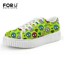 Skull Woman Girl Flat Platform Wedge Creepers Shoes Goth Punk Low-top Trainers