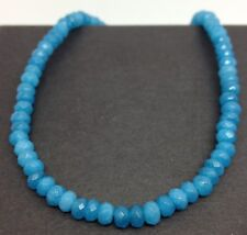 blue agate Faceted bead necklace solid Sterling Silver, actual one, new. UK.