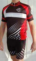 Mens Cycling Bike short Sleeve Jersey knicks pants kit set lambda S/M Red& Black