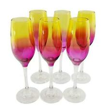 Crystal Wine Stem Glasses with Multi Colored Amber and Pink Flutes 6-pc Set