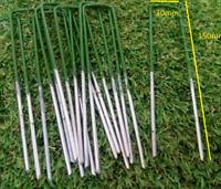 Artificial Grass Pins Green Galvanised Metal U Pegs Membrane Fabric Staple x 100