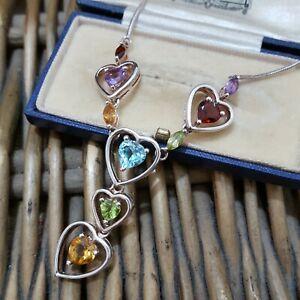Multi Gemstones 925 Sterling Silver Necklace, Heart Necklace, Topaz, Amethyst