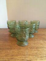 SET OF 6 Mid Century Mod Anchor Hocking MILANO GREEN 10-oz Wine Glasses (Rocks)