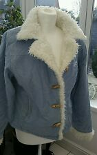 "GORGEOUS PALE BLUE CORDUROY JACKET WITH WHITE FAUX FUR LINING BY ""ANIMAL"" MEDIUM"