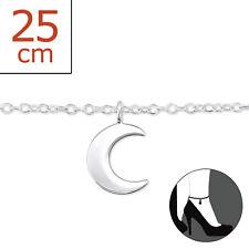 TJS 925 Sterling Silver Anklet Moon Crescent 22cm Expandable 25cm Dangle Design