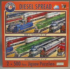 "LIONEL TRAIN CATALOG SERIES PUZZLE DIESEL SPREAD 12"" x 36 "" 2 - 500 pc 9-32016"