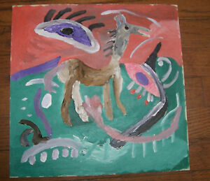 """Charlie Lucas Folk Art painting Outsider """"Horse""""  African-American  signed"""