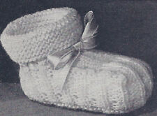 Vintage Knitting PATTERN Baby Booties Soft Shoes Infant
