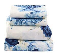 Beautiful Soft  Comfort 4 pcs QUEEN Sheet Blue Floral