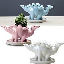 Succulent Ceramic Dinosaur Planter Pots, 7 Inch Height Animal Plant Pots with