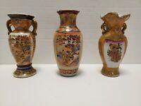 Set of 3 Vintage / Antique Japanese 6 Inch Satsuma Vases