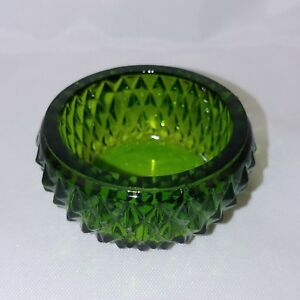MT VERNON OPEN SALT #4 Boyd Glass OLDE LYME GREEN 8-13-85 Dip Dish Bowl NOS