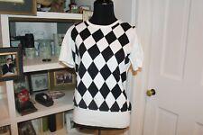Ladies Brooks Brothers 346 Black Argyle Short Sleeve Sweater Size Medium NWT
