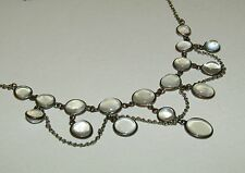 FINE, VICTORIAN, SILVER ON COPPER FESTOON NECKLACE WITH LUSH MOONSTONE GEMS