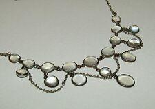 Bien, Victoriano, plata sobre cobre Festoon Collar con gemas exuberante Piedra Lunar