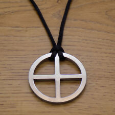 Sun Solar Cross Stainless Steel Pendant & Black Cord Necklace Viking Sun Wheel
