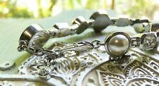 DYRBERG KERN Silver Tone Link Bracelet Coins Rhinestones Pearls