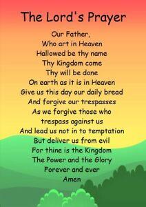NEW The Lords Prayer Childrens A5 Card keepsake Inspiration Faith Christian Love