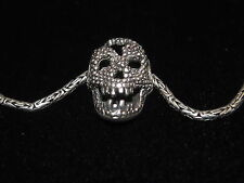 925 Sterling silver byzantine chain with skull pendant